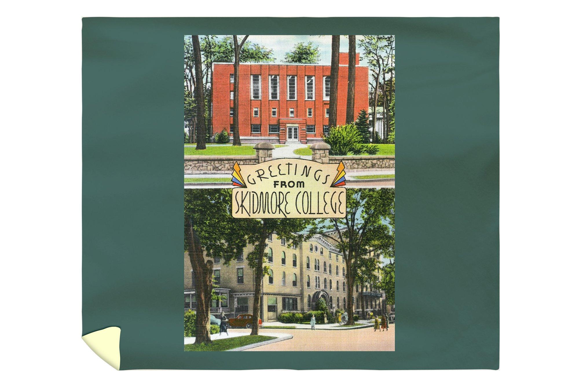 Saratoga Springs, New York - Greetings from Skidmore College Scenes (88x104 King Microfiber Duvet Cover)