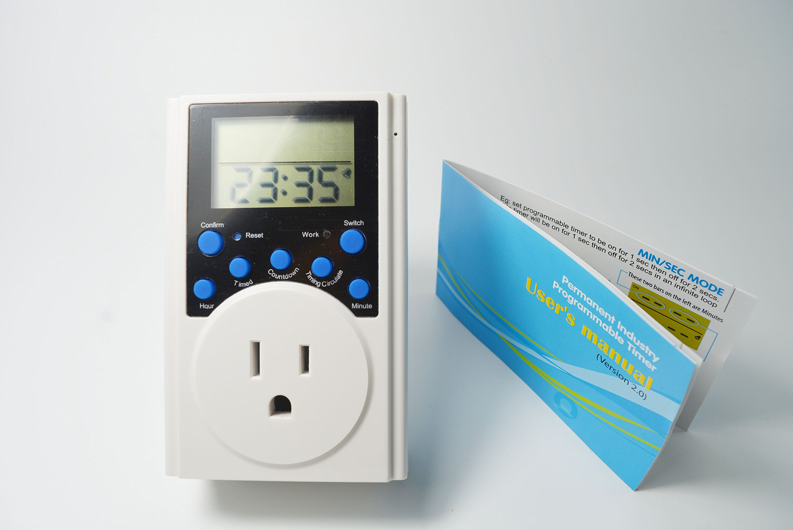 Permanent Plug-in Programmable Timer outlet wall plug in timer Count Down on and count down off Minimum setting 1 second with LCD screen infinite loop latest version by Permanent