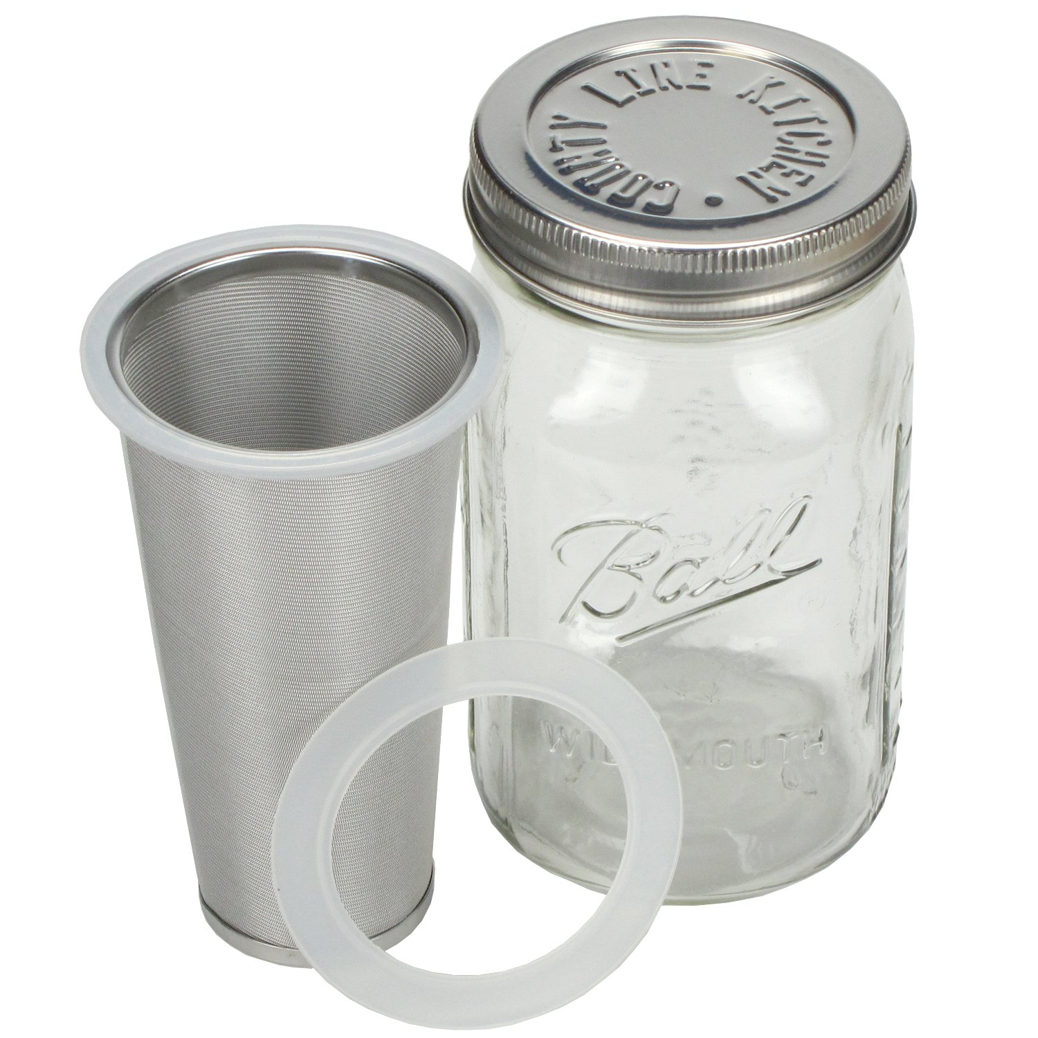 Cold Brew Coffee Maker by County Line Kitchen - 1 Quart - Make Amazing Cold Brew Coffee and Tea with This Durable Mason Jar and Stainless Steel Filter and Stainless Steel Lid by County Line Kitchen