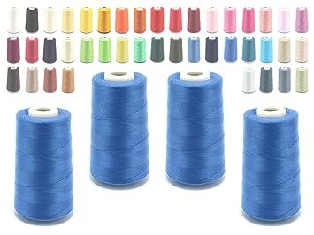 Schnoschi – Bobina de hilo de coser para máquina remalladora, 40/2 (120), 4570 metros, muchos colores, Mittelblau, 4 unidades: Amazon.es: Hogar