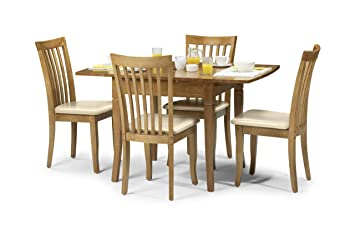 Julian Bowen Newbury Extending Dining Table Set Maple Colour Table