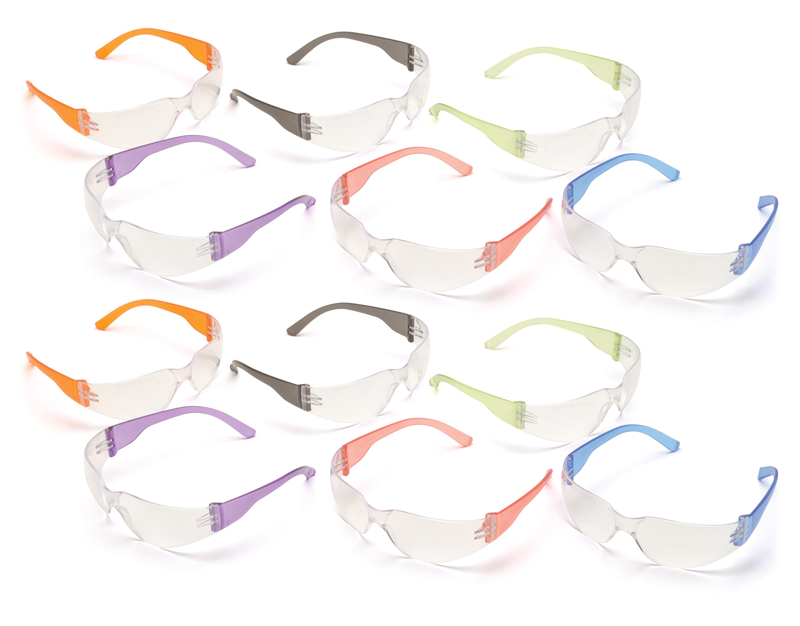 Pyramex S4110SMP Intruder Safety Glasses (12 Pack), Clear Lens with Assorted Temple Colors by Pyramex