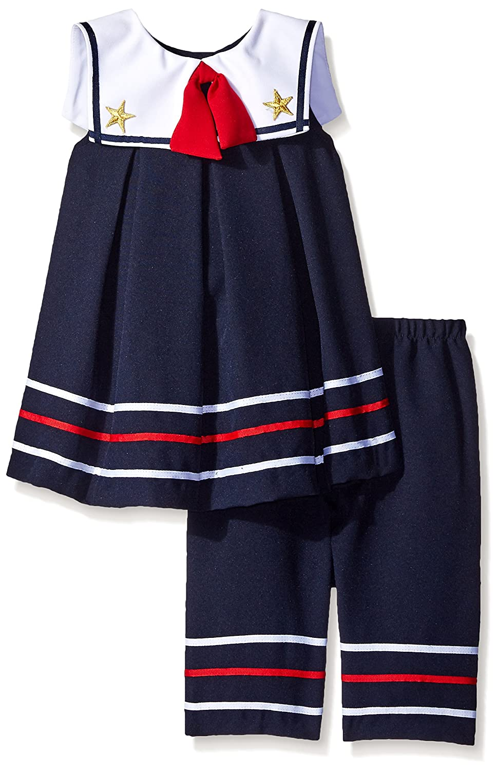 Bonnie Jean Girls Toddler Nautical Pleated Dress and Pant Set