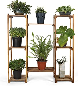 HYNAWIN Wood Plant Stand Flower Rack Display Storage Shelves for Patio Garden Balcony Yard