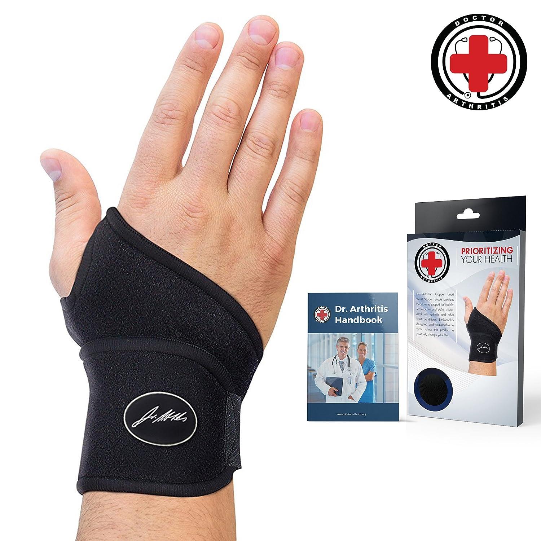 Doctor Developed Premium Copper Lined Wrist Support/Wrist Strap/Wrist  Brace/Hand Support [Single]\u0026 Doctor Written Handbook\u2014 Suitable for Both  Right