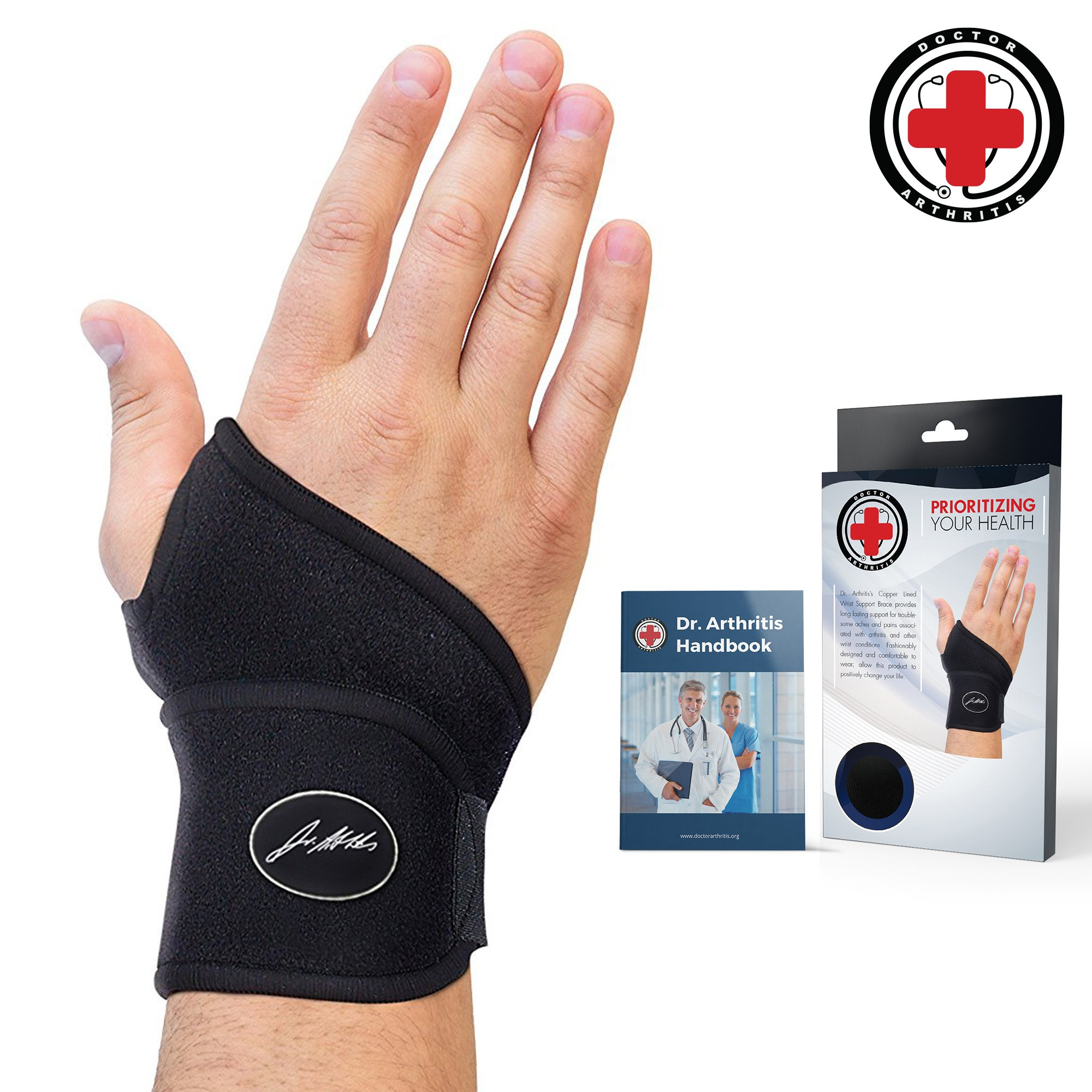 Doctor Developed Premium Copper Lined Wrist Support/Wrist Strap/Wrist Brace/Hand Support [Single]& Doctor Written Handbook- Suitable for Both Right and Left Hands by Dr. Arthritis