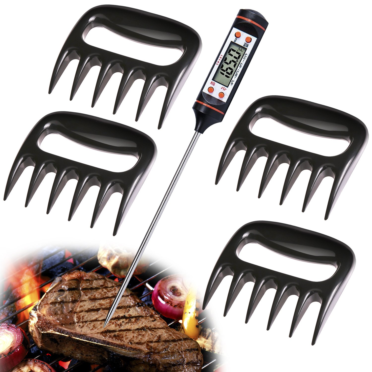 Instant Reading Digital Meat Thermometer and Pulled Pork Shredder Claws