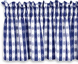 Cackleberry Home Blue and White Tavern Check Valance Curtain Woven Cotton Jacquard Lined 54 Inches W x 17 Inches L