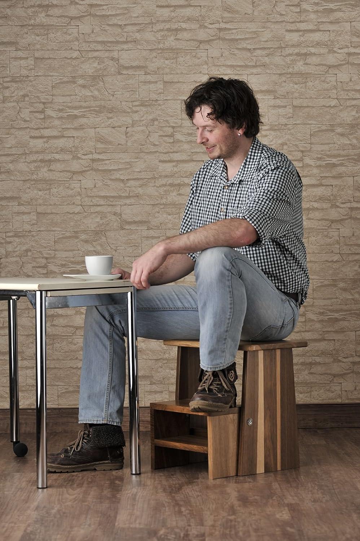 Sitzhocker Holz Tritthocker stabil in Eiche natur Massivholz f/ür Kinder und die ganze Familie