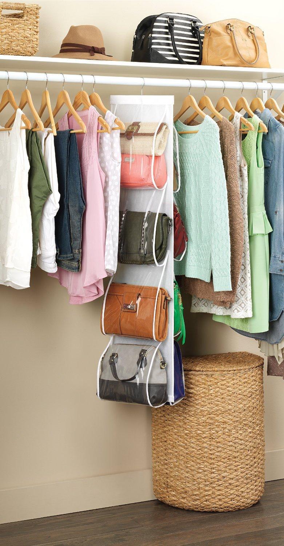 Amazon.com: Zober Hanging Purse Organizer, Breathable Nonwoven Handbag  Organizer, 8 Easy Access Clear Vinyl Pockets, White, 48 L X 12 W: Home U0026  Kitchen