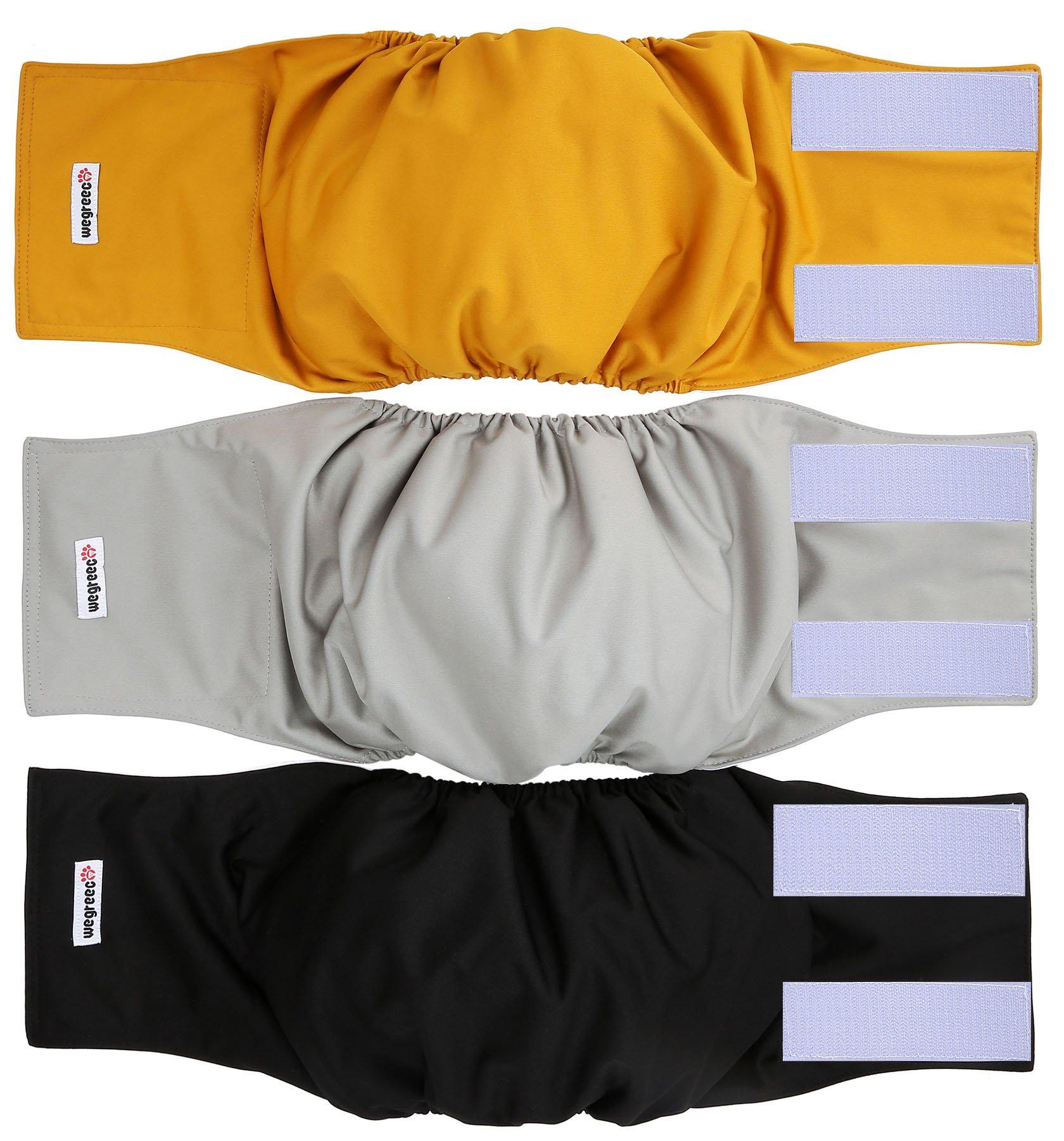 wegreeco Washable Male Dog Belly Wrap – Pack of 3 – (Gold,Black,Grey,Medium)