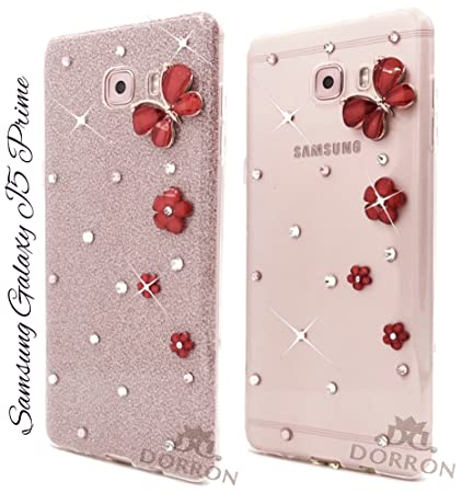 los angeles be6dc 2b4c2 DORRON Butterfly Bling Rhinestones Glitter TPU Back Cover for Samsung  Galaxy J5 Prime (Red Flower)