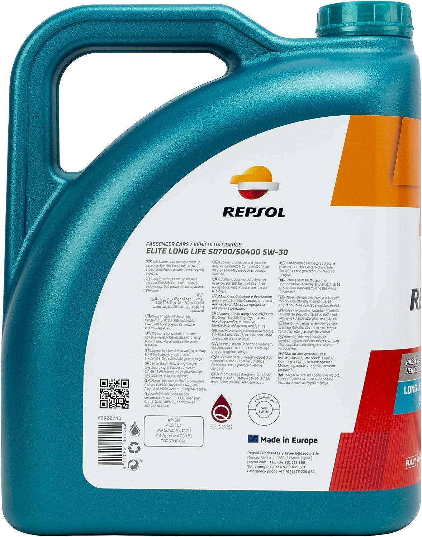 Repsol 543050 Aceite DE Motor Elite Long Life 50700/50400 5W30 5 litros, Multicolor, 5 L: Amazon.es: Coche y moto