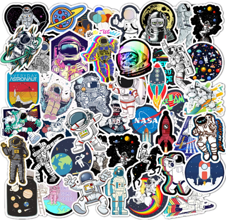 NASA Stickers for Laptop Water Bottles, 50PCS Space Explorer Galaxy Vinyl Sticker for Car Bumper Skateboard Luggage, Spaceman Spacecraft Universe Planet Sticker for Vsco Girl Boy Space Lover