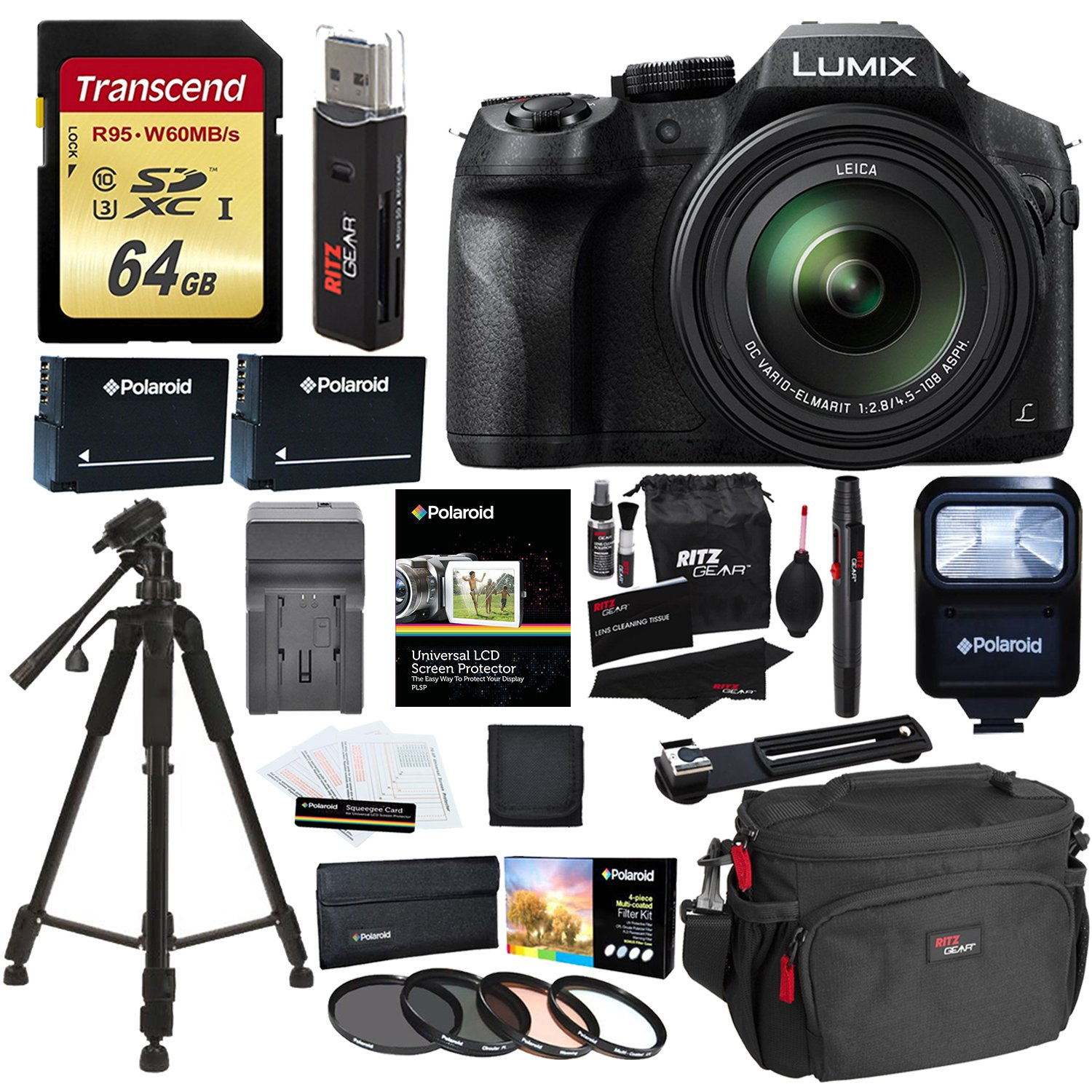 Panasonic LUMIX DMC FZ300 4K Point and Shoot Camera with Leica DC Lens 24X Zoom Black + Polaroid Accessories + 64GB SD Card + 57'' Tripod + Ritz Gear Bag + 2 Batteries + Charger + Filter + Cleaning Kit by Ritz Camera (Image #1)