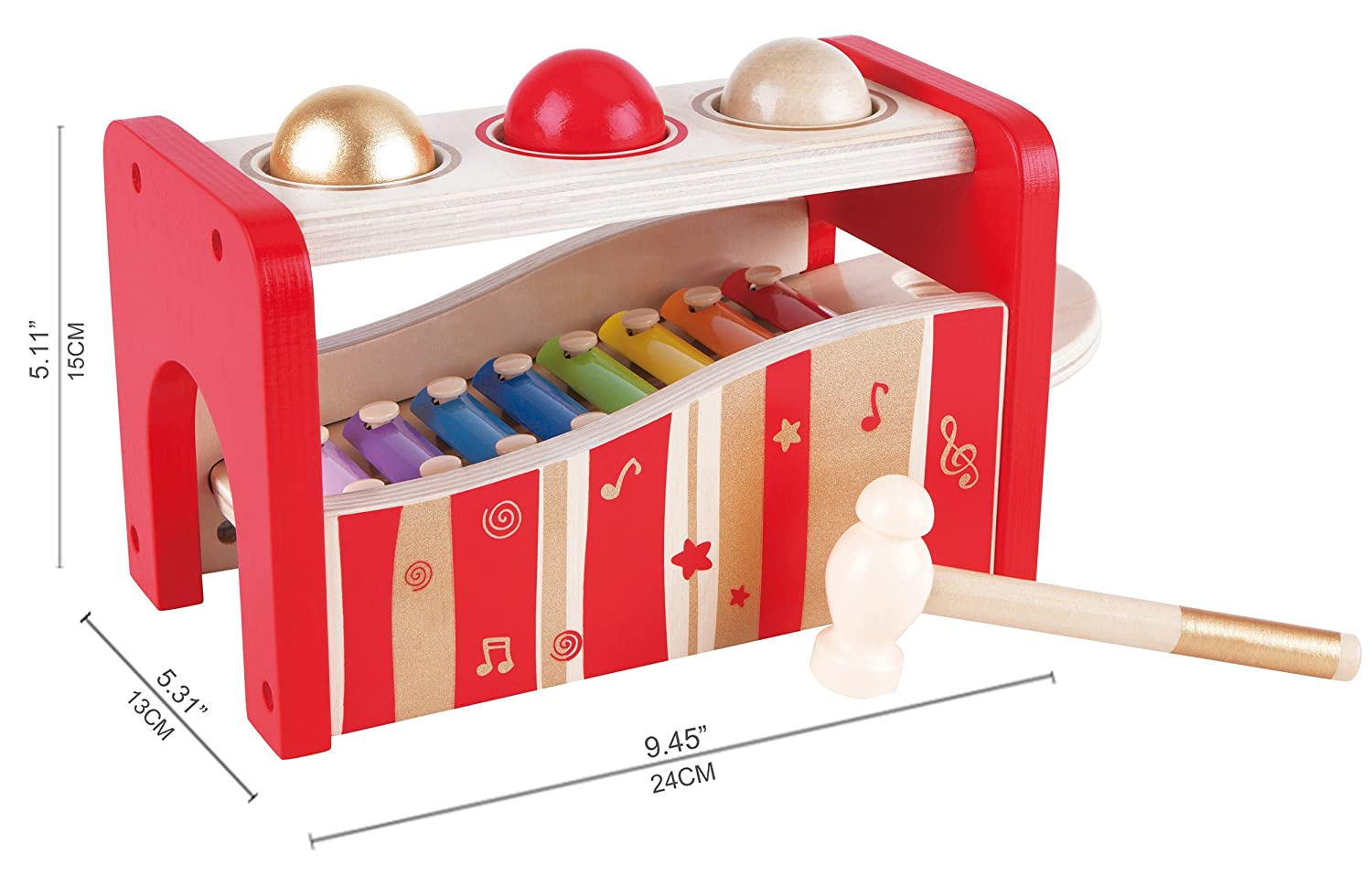 Award Winning Durable Wooden Musical Pounding Toy for Toddlers Multifunctional and Bright Colours E0305 Hape Pound /& Tap Bench with Slide Out Xylophone