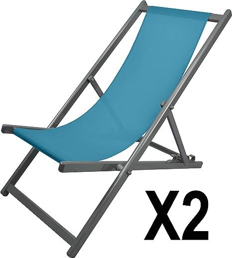 MATEXA – Lote de 2 – Chilena Confort Anti-UV de Aluminio, Silla Plegable de Exterior, Silla de terraza, Turquesa