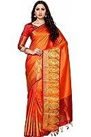 Mimosa By Kupinda Women's Art Silk Saree Kanjivaram Style (Latest Designer Sarees /Party wear sarees /New collection sarees Color : Rust (4032-242-RD-2D-GLD-MRN)