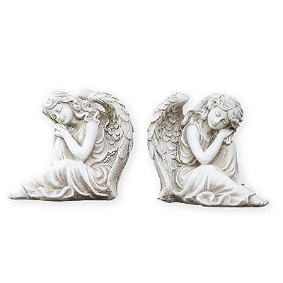 Twin Sleeping Angel Girls Left Right Facing Garden Statues : Garden & Outdoor