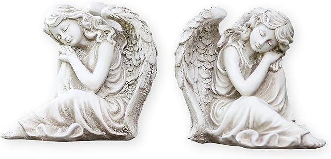 "KiaoTime-PAIR of Resin Angel Cherub Figurine Lawn Statue Garden Sculpture 4.25/"""