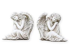 Twin Sleeping Angel Girls Left Right Facing Garden Statues