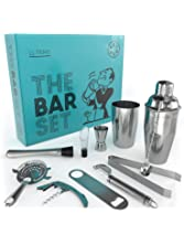 Home Bar Tools Set – 11 Piece cocktail set with strainer, jigger, 2 shakers, bar spoon, pourer, muddler, fruit peeler, bottle opener, cork screwer and ice tongs –Stainless-Steel