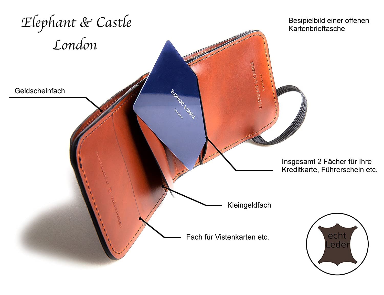 a4601f56fb4a1 Original Lanyards® ELEPHANT   CASTLE Wallet Luxus Brieftasche Geldbörse  Portmonnaie Kreditkartenetui aus hochwertigem Ochsenleder - Made in  Portugal Braun  ...
