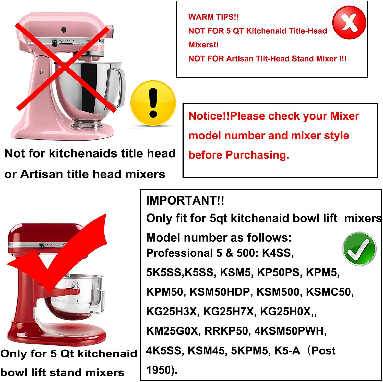 5 Quart Flat Beater Paddel Ersatz Zubeh/ör Aufs/ätze mit flexiblem Silikonrand Schaber 5QT Flex Edge Schl/ägel f/ür KitchenAid Bowl-Lift Stand Mixer