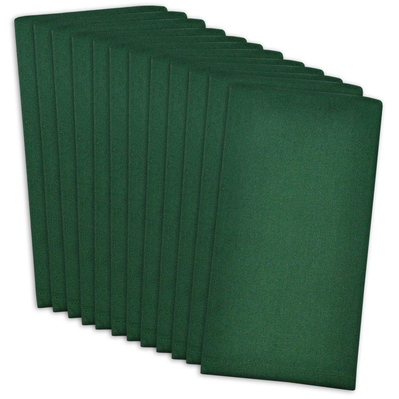 Dark Green Christmas Cotton Cloth Napkins Set of 12  - ChristmasTablescapeDecor.com