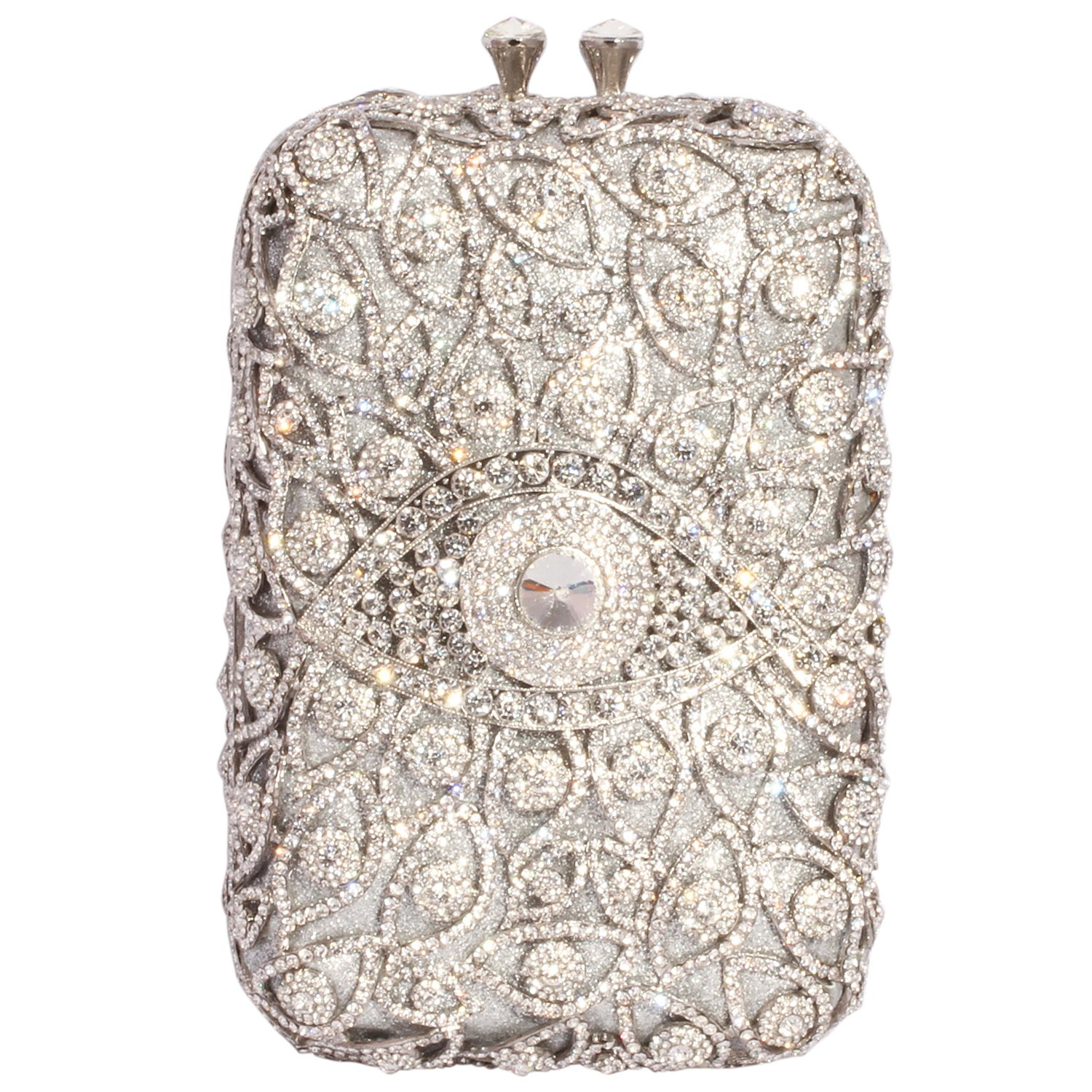 Digabi Eyes Rhinestone Purses Rectangle Shape Retro women Crystal Evening Clutch Bags (One Size : 4.72 IN (L) x 7.87 IN (H) x 2.6 IN (W), Whitet Crystal - Silver Plated)