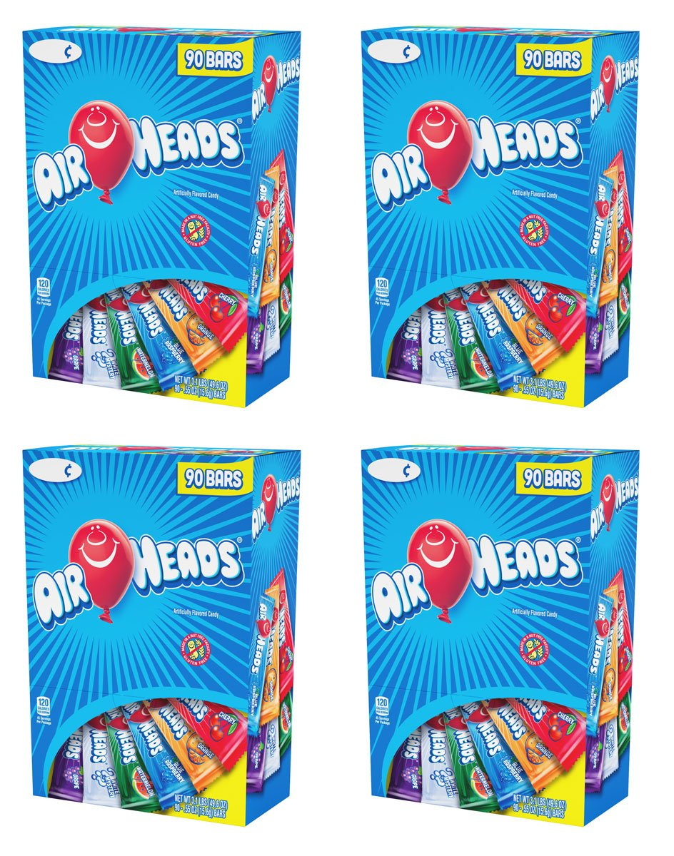 Airheads Chewy Fruit Candy, stocking stuffer, Variety Pack, 90 Count, 3.1lbs, 4 Pack