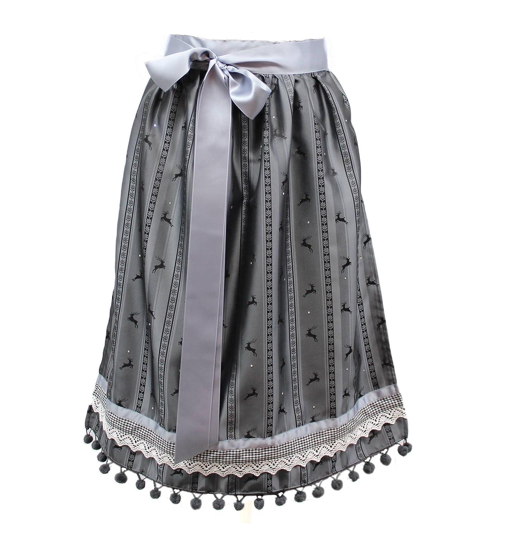 Moda Bavarica Trachten Dirndlschürze grau schwarz Schürze Hirsch Dirndl Damen 70cm lang