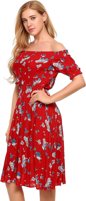 Beyove Damen Schulterfrei Kleider Elastische Taille Kleid Strandkleid Midikleid Partykleider mit Blumen