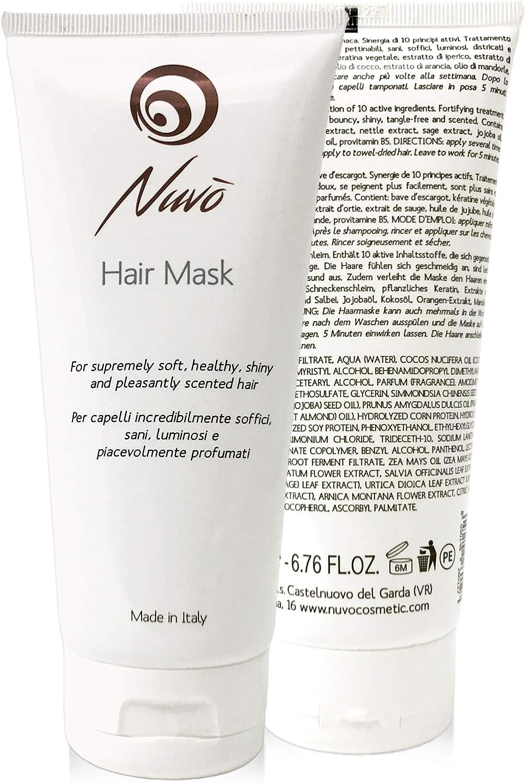 Nuvo' Mascarilla para el pelo enriquecida con queratina vegetal, Baba de caracol, aceite de almendras, aceite de jojoba. tratamiento de reestructuración para cabello. 100% Made in Italy 200ml