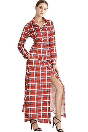 7f1ee78ced29 Image Unavailable. Image not available for. Color: Wonderful Women Plaid  Shirt Dress, Button up Split Casual Long Sleeve ...
