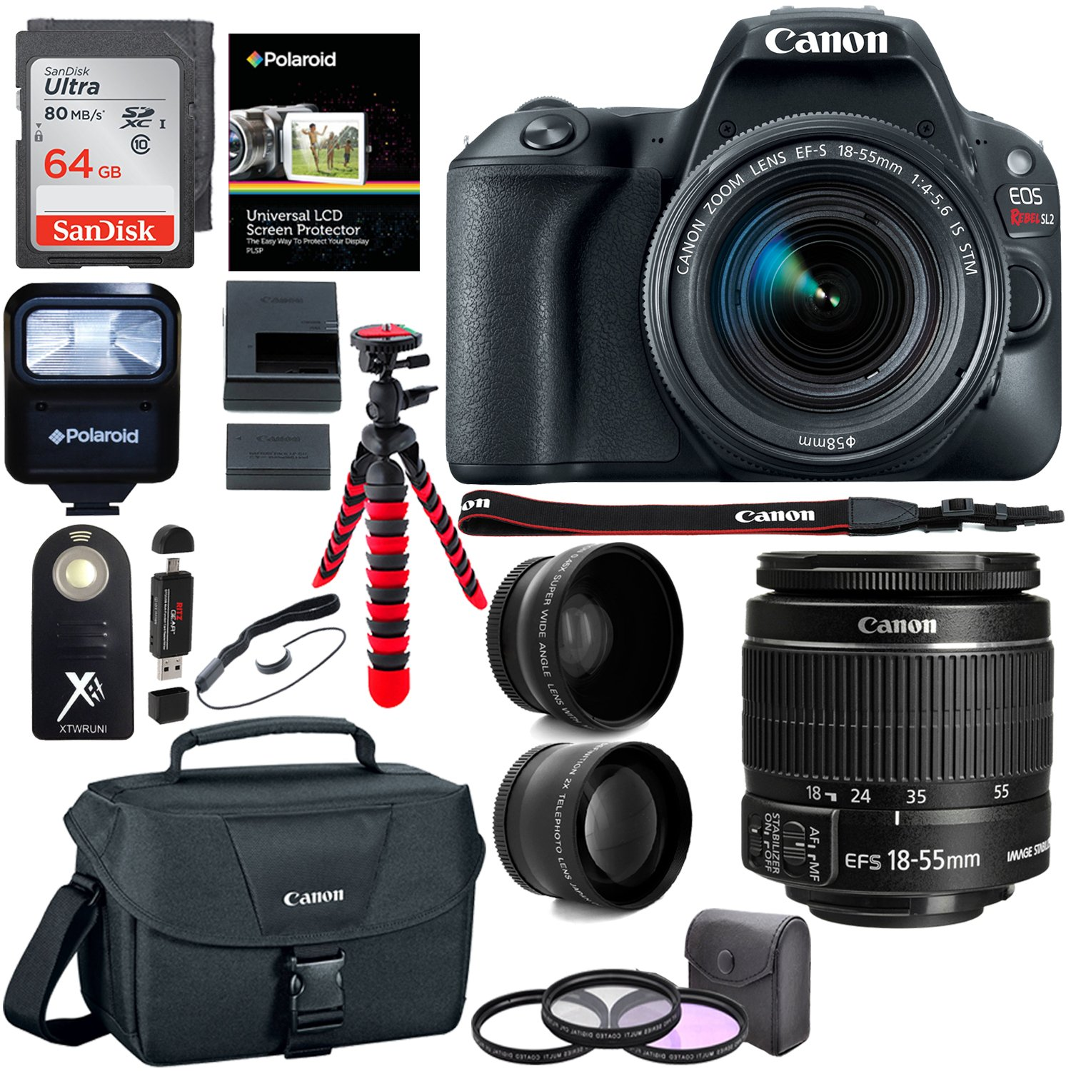 Canon EOS Rebel SL2 DSLR Camera with EF-S 18-55mm STM Lens, Sandisk 64GB Memory Card, Telephoto, Wide Angle Lenses, Filter Kit and Accessory Bundle by Ritz Camera