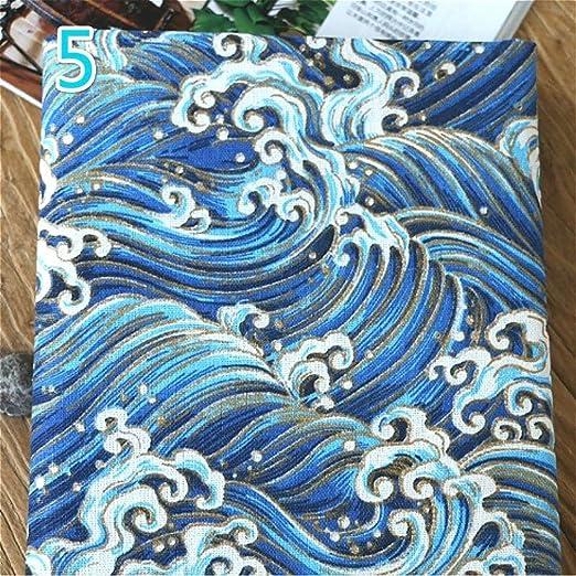 Youmu japonés algodón lino tejido búho ola de mar cortina de ...
