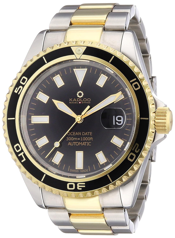 Kadloo Herren-Armbanduhr XL Ocean Date Gold Analog Automatik Edelstahl beschichtet 80805-BK
