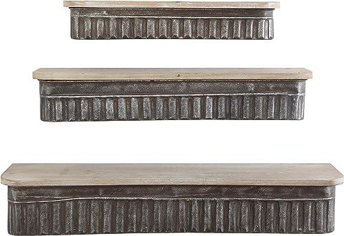 Creative Co-op Metal Wood Wall Shelves Set of 3 Sizes