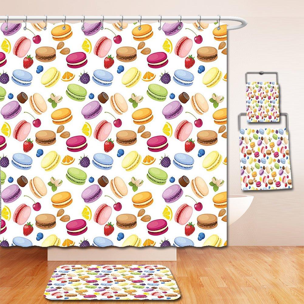 Nalahome Bath Suit: Showercurtain Bathrug Bathtowel Handtowel Colorful Traditional French Macarons with Berries Lemons Almonds Pistachios and Chocolate Multicolor