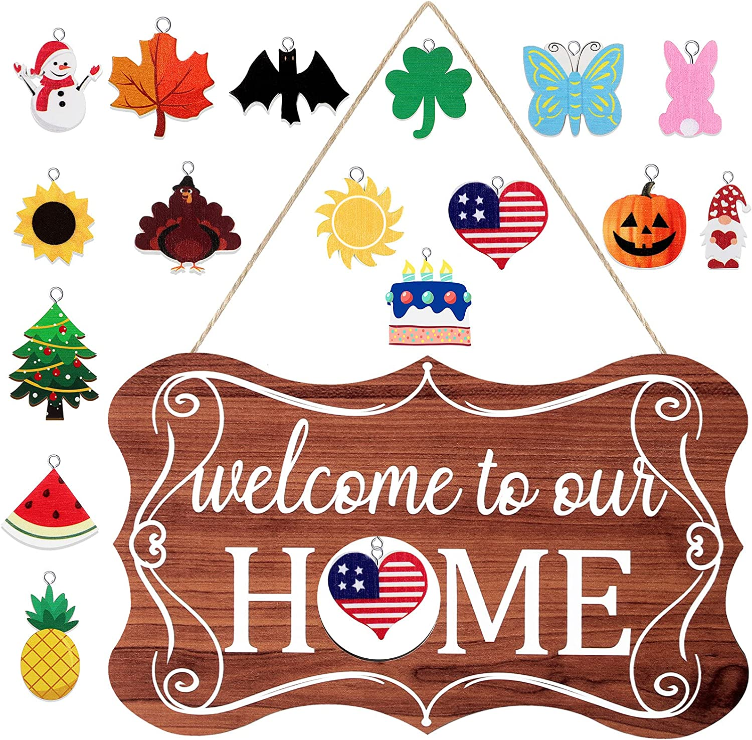 Jetec Interchangeable Seasonal Welcome Sign Rustic Wood Welcome to Our Home Sign Farmhouse Front Door Decor Wall Hanging Decorations for 4th of July Summer Fall Halloween Christmas Thanksgiving