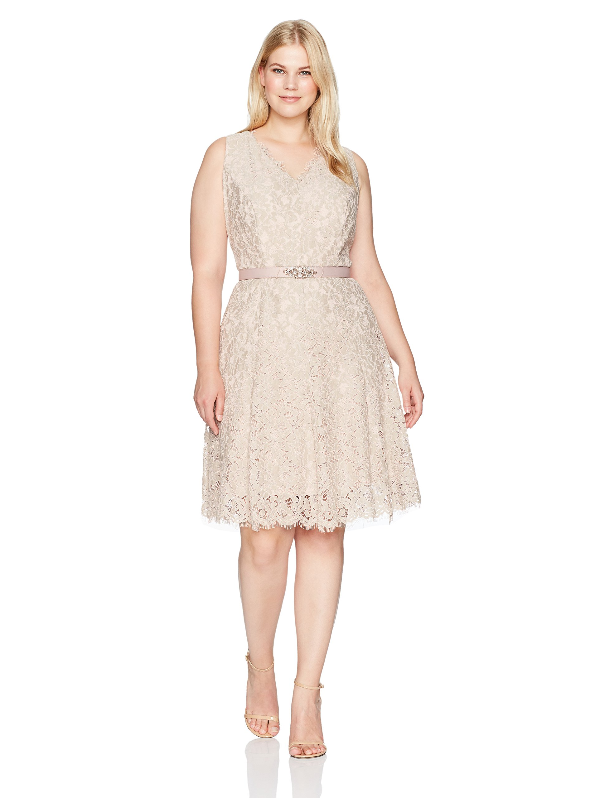 Jessica Howard Women's Plus Size Sleeveless V-Neck Dress Seamed, Taupe/Rose, 14W