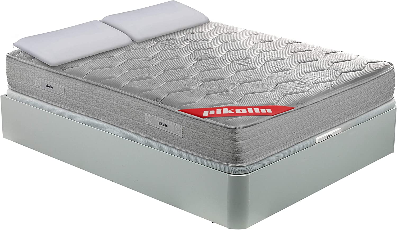 PIKOLIN Pack Colchón viscoelástico Espuma HR 135x190, canapé Base abatible Blanco y Dos Almohadas de Fibra