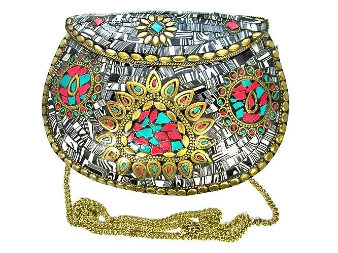 927492de41d86 Image Unavailable. Image not available for. Color: Black & White Stones  Mosaic Handmade Metal Clutch Evening Luxury Bag Purse ...