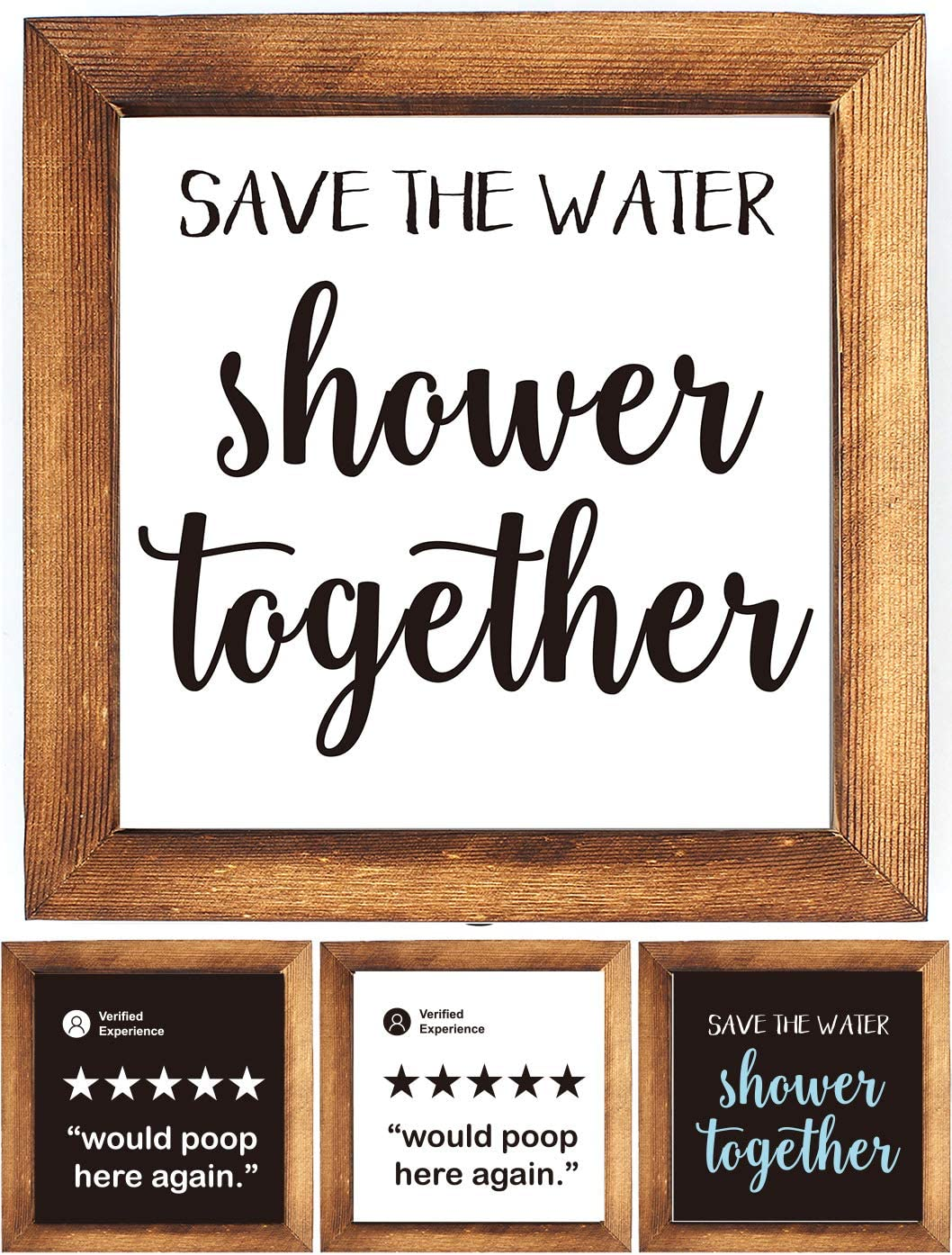 KU-DaYi Wood Framed Block Sign -Save The Water Shower Together, Funny Rustic Farmhouse Guest Bathroom Toilet Wooden Wood Framed Wall Hanging Sign Decor