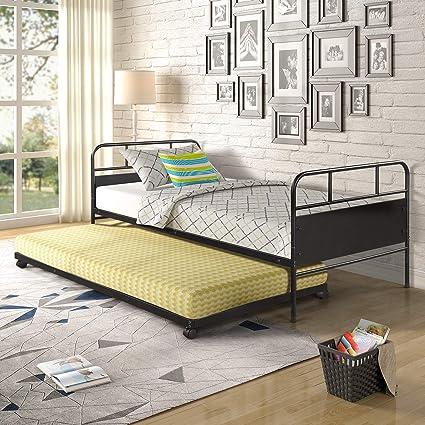 JULYFOX - Cama nido de acero con cabecero de cama individual ...