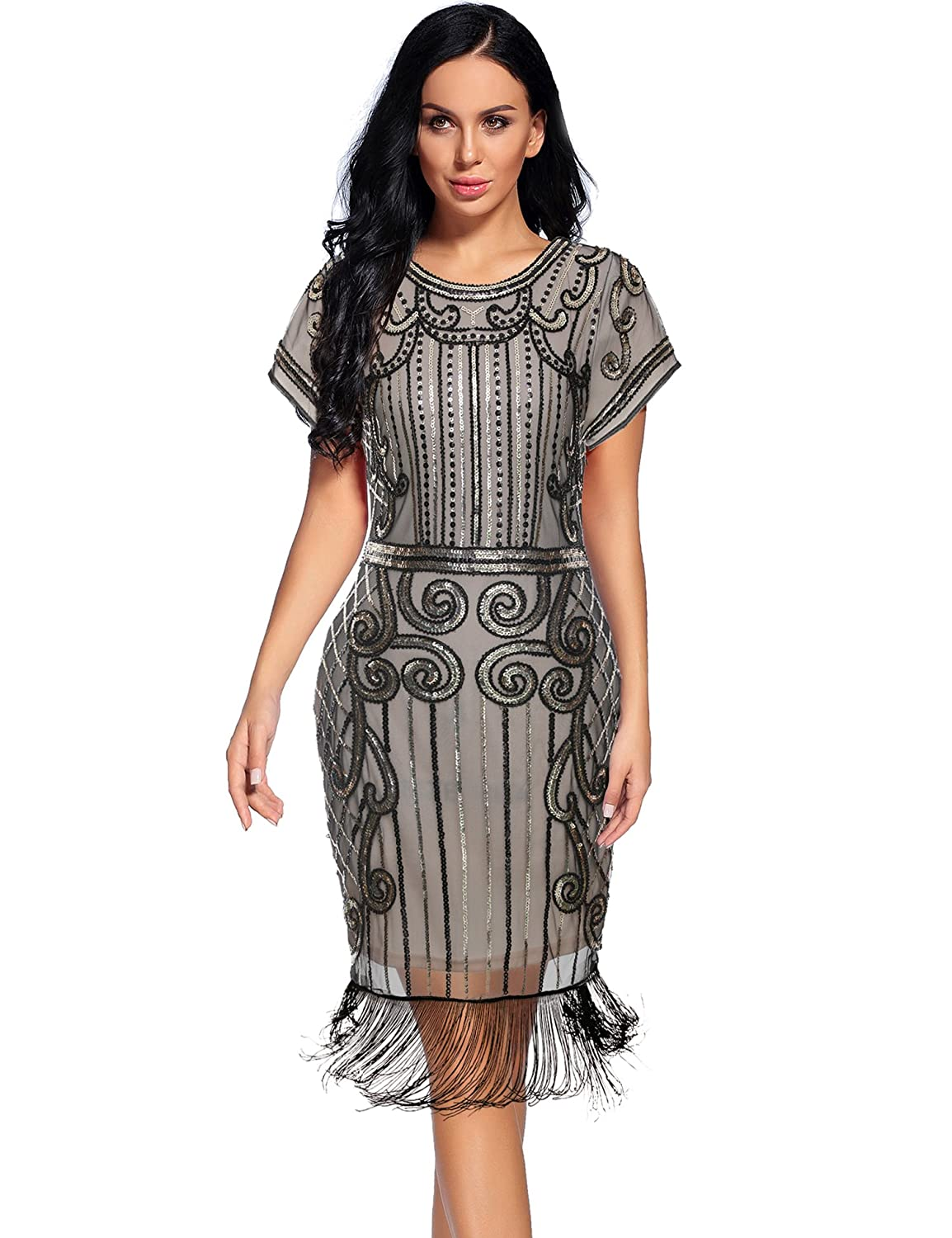 Women's Flapper Dresses 1920s Gatsby Sequin Fringe Short Sleeve Dress