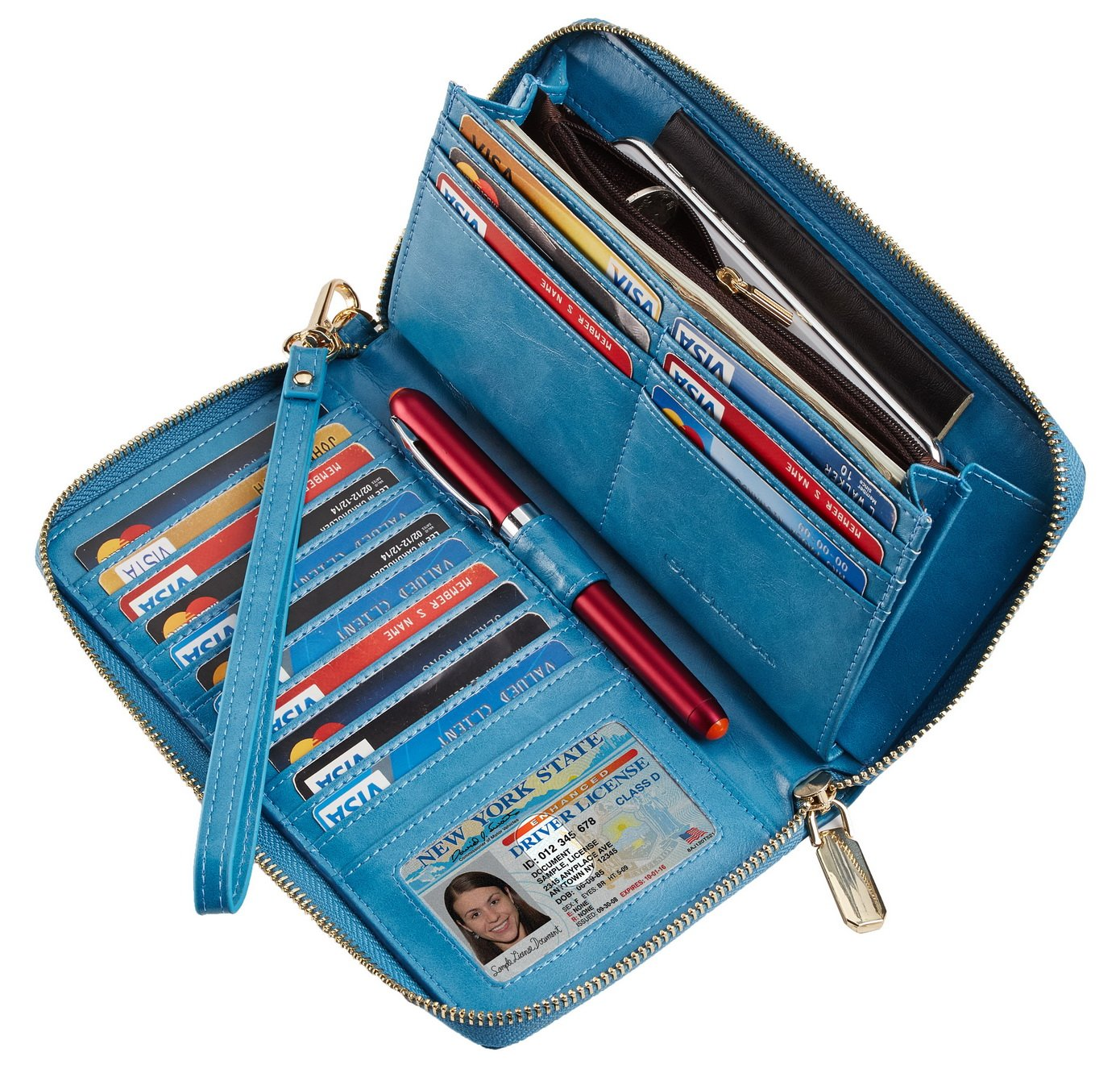 2511bacea066 SimpacX Chelmon Womens RFID Blocking Wallet Genuine Leather Zip Around  Clutch Large Travel Wallet Purse Passport Holder (wax blue)
