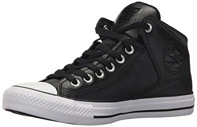 c12b129e5be Converse Men s Street Leather High Top Sneaker Black White