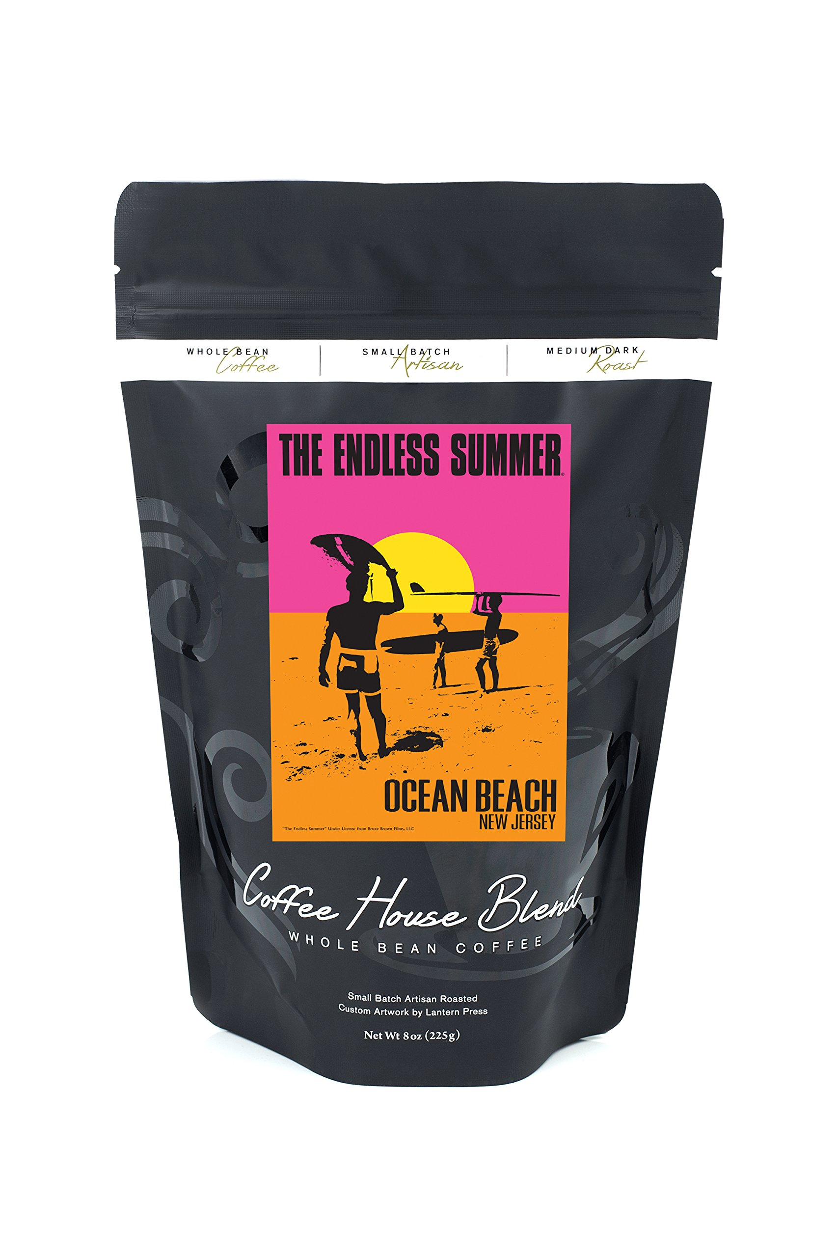 Ocean Beach, New Jersey - The Endless Summer - Original Movie Poster (8oz Whole Bean Small Batch Artisan Coffee - Bold & Strong Medium Dark Roast w/ Artwork)